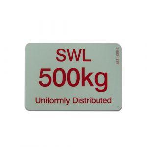500KG SWL sign