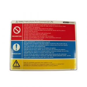 Safety instructions label